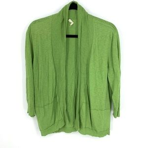Eileen Fisher Green 3/4 Sleeve Open Front Cardigan